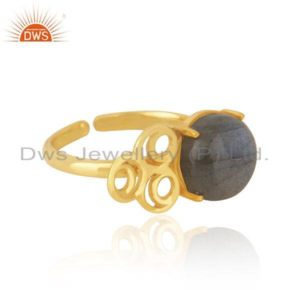 Wholesale Labradorite Gemstone Girls Gold Plated Silver Ring Jewelry Supplier