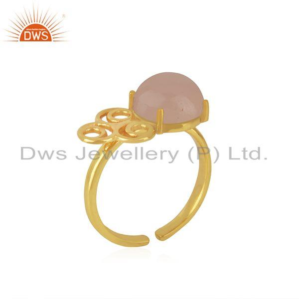 Manufacturer of Rose Chalcedony Gemstone Gold Plated 925 Silver Designer Ring Wholesale