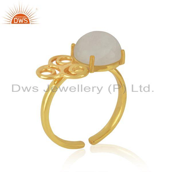 Wholesale Rainbow Moonstone 925 Silver Gold Plated Designer Ring Manufacturer India