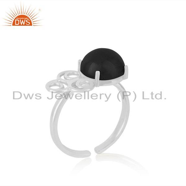 Wholesale Natural Black Onyx Gemstone Designer Fine Sterling Silver Ring Manufacturer