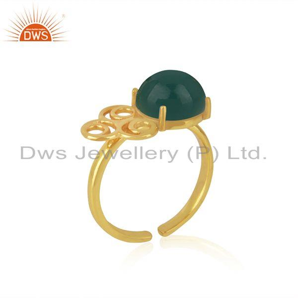 Supplier of 18k Gold Plated Sterling Silver Green Onyx Gemstone Promise Ring Manufacturer