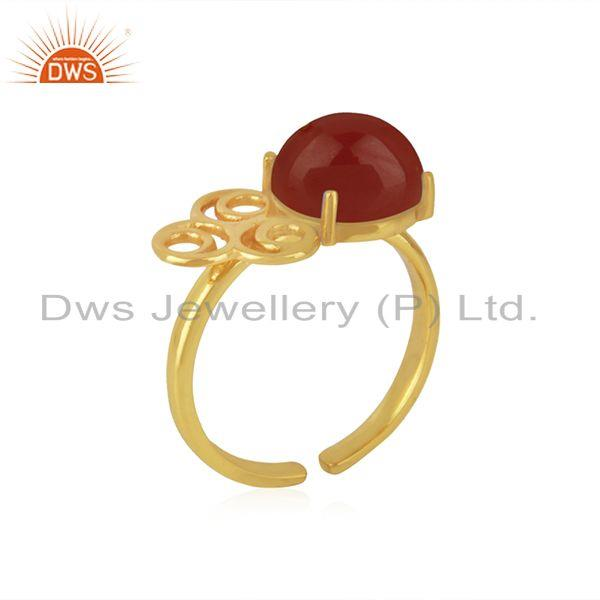 Wholesale 18k Gold Plated 925 Sterling Silver Red Onyx Gemstone Wedding Ring Wholesale