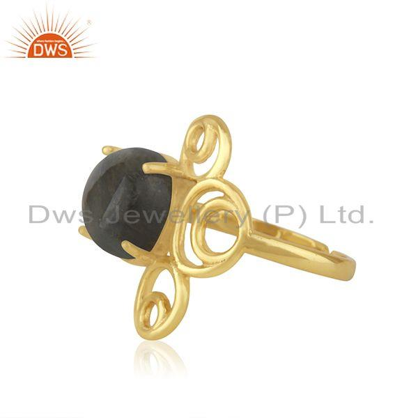 Supplier of Yellow Gold Plated 925 Silver Labradorite Gemstone Ring Manufacturer of Jewelry