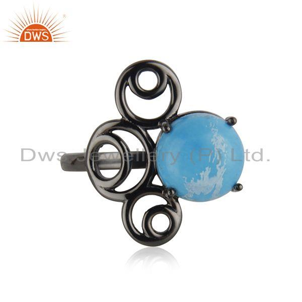 Supplier of 92.5 Silver Black Rhodium Plated Turquoise Gemstone Ring Manufacturer India