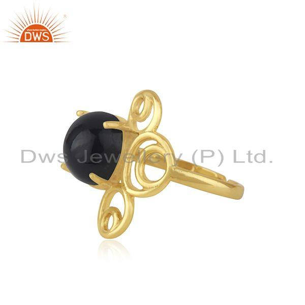 Manufacturer of Gold Plated 925 Silver Black Onyx Gemstone Trendy Ring For Girls Jewelry