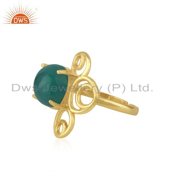 Wholesale Green Onyx Gemstone 925 Silver Gold Plated Designer Ring Jewelry For Womens