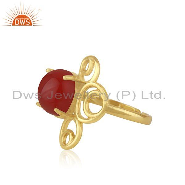 Supplier of Yellow GOld Plated 925 Silver Red Onyx Gemstone Ring Manufacturer India