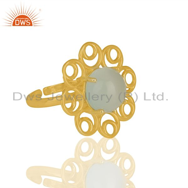 Manufacturer of Solid 925 Silver Yellow Gold Plated Gemstone Cocktail Rings Jewelry