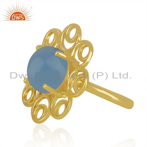 Supplier of Blue Chalcedony Gemstone Gold Plated Silver Floral Design Ring Manufacturer