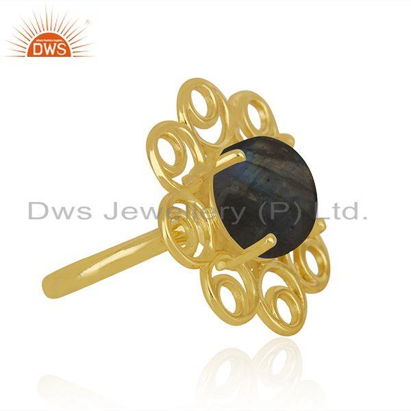 Wholesale Labradorite Gemstone Gold Plated 925 Silver Floral Design Ring Wholesale