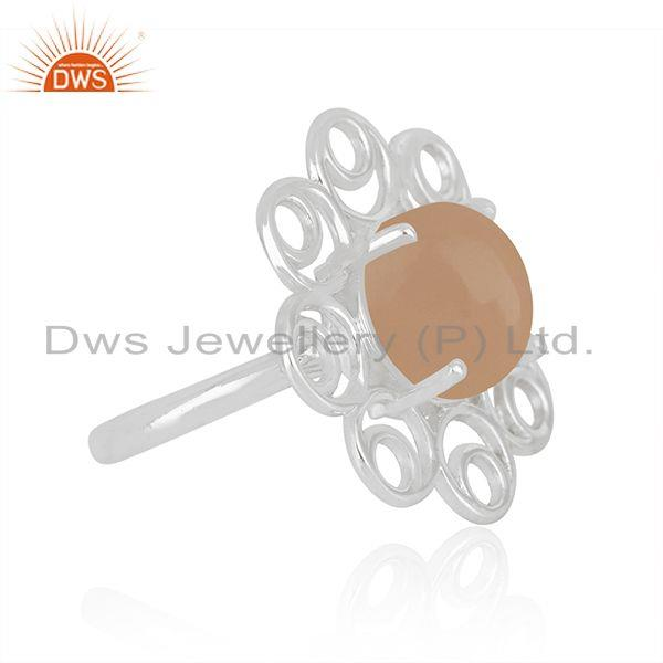 Wholesale Floral Design Fine Sterling Silver Rose Chalcedony Gemstone Ring Supplier India