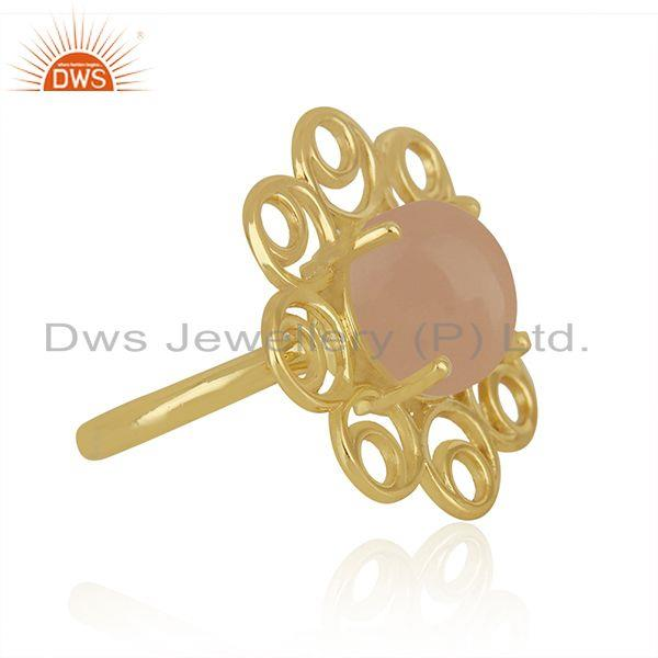Manufacturer of Rose Chalcedony Gemstone Gold Plated 925 Silver Floral Design Ring Suppliers