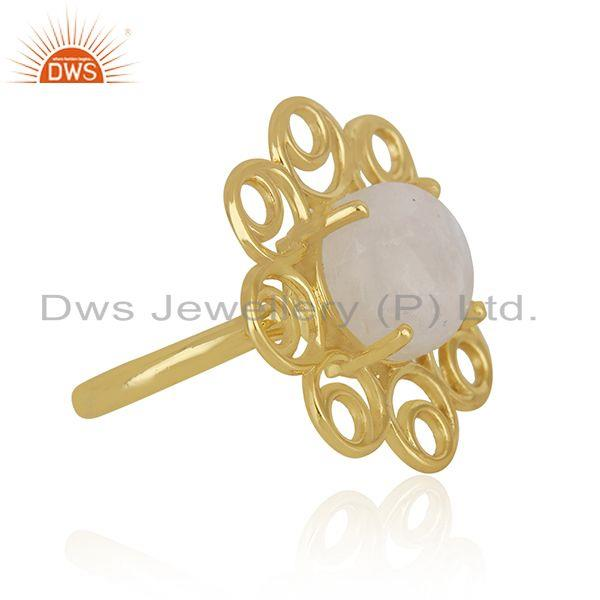 Supplier of Gold Plated 925 Silver Rainbow Moonstone Floral Design Ring for Womens
