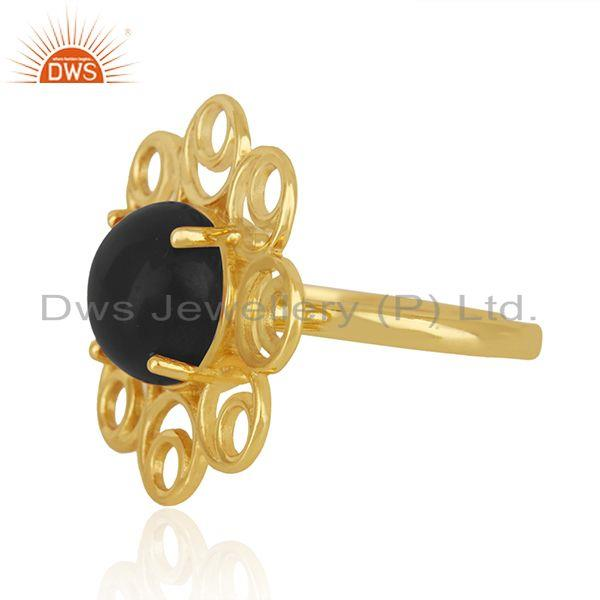 Wholesale Black Onyx Gemstone 925 Silver Gold Plated Floral Design Ring For Girls Jewelry