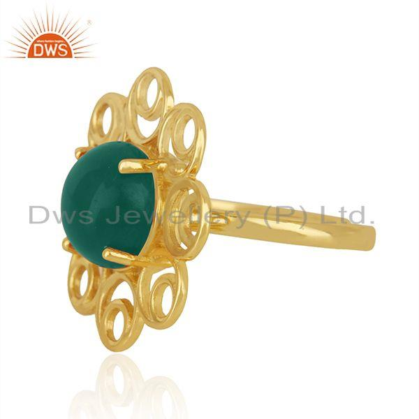 Manufacturer of Green Onyx Gemstone Floral Design 925 Silver Gold Plated Promise Ring For Girls