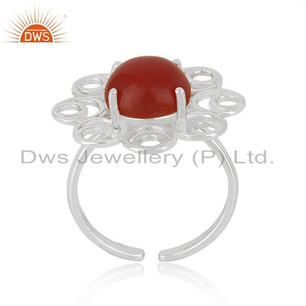 Manufacturer of Red Onyx Gemstone Fine Sterling Silver Floral Design Ring Manufacturer India