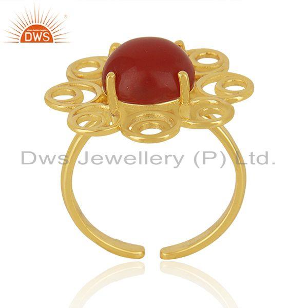 Supplier of Red Onyx Gemstone Gold Plated 925 Silver Floral Design Ring Manufacturer
