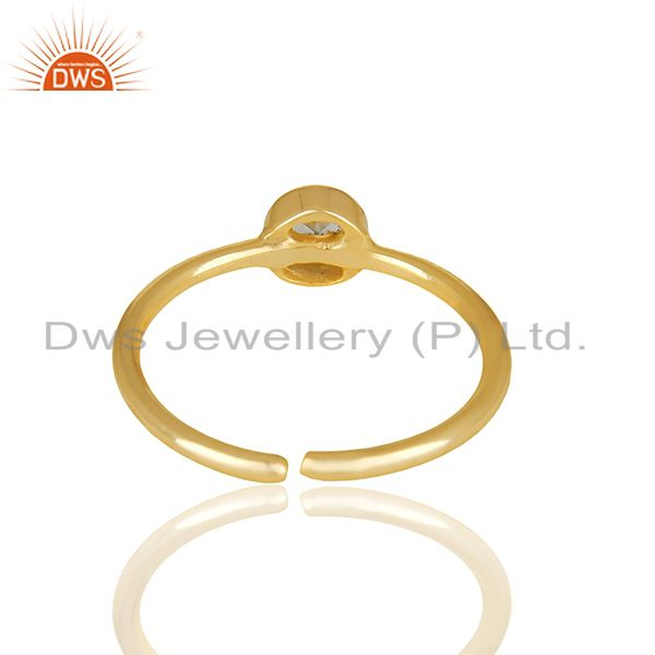 Exporter Aquamarine Gemstone 92.5 Silver Gold Plated Midi Rings Wholesale