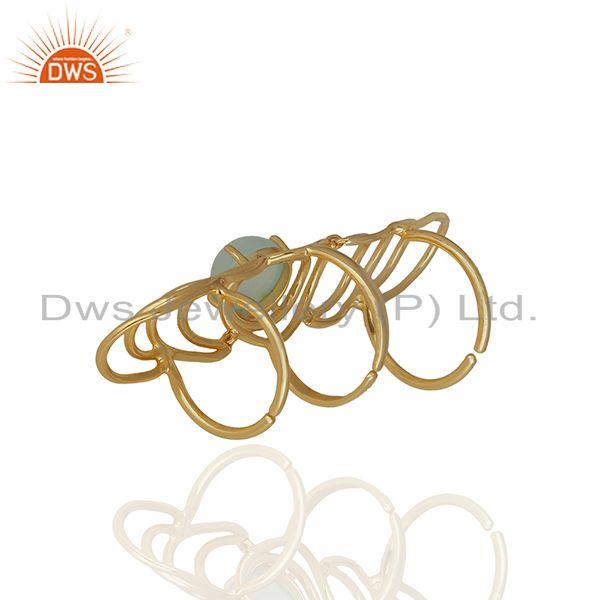Supplier of Aqua Gemstone Sterling Silver Gold Plated Knuckle Ring Manufacturers