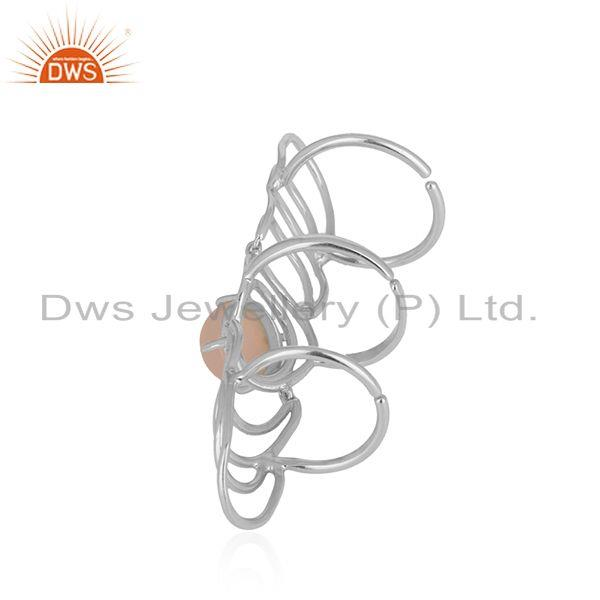 Manufacturer of Fine Sterling Silver Rose Chalcedony Gemstone Knuckle Ring Supplier