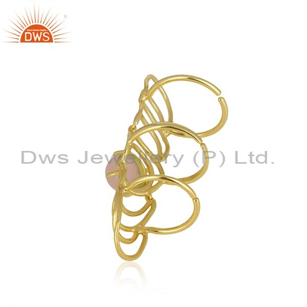 Supplier of Rose Chalcedony Gemstone Gold Plated 925 Silver Knuckle Ring Wholesale