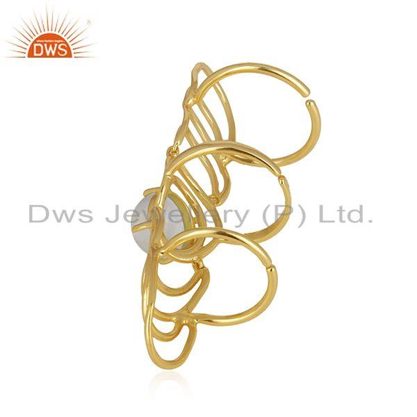 Wholesale Gold Plated 925 Fine Silver Rainbow Moonstone Knuckle Ring Wholesale