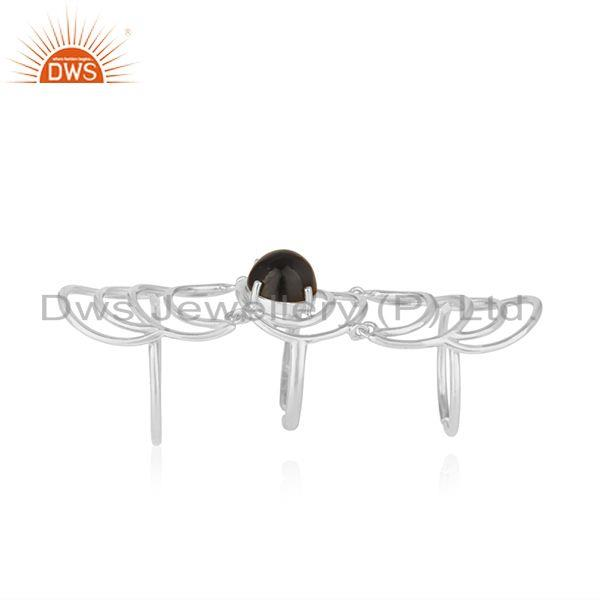 Indian Supplier of Black Onyx Gemstone Fine 925 Sterling Silver Designer Knuckle Rings