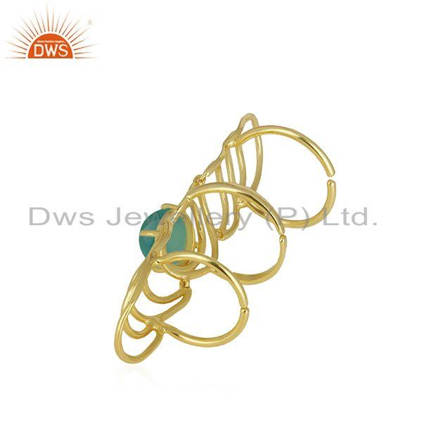 Manufacturer of Green Onyx Gemstone Gold Plated 925 Silver Knuckle Ring Manufacturer