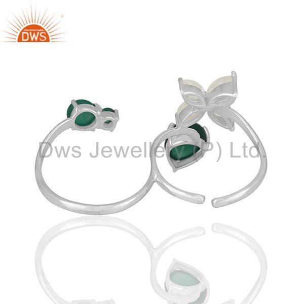 Exporter Multi Finger Rings With Solid Stelring Silver Multi Gemstone Jewelry