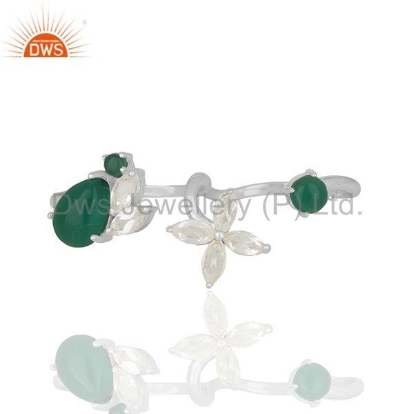Exporter Crystal Quartz and Green Onyx Gemstone Multi Finger Rings Wholesale