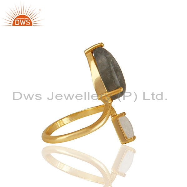Exporter Natural Multi Gemstone 92.5 Sterling Silver Gold Plated Rings Jewelry