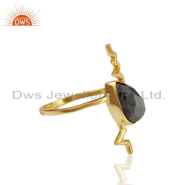 Exporter Hematite Simple Heartbeat Gold Plated Designer Silver Ring