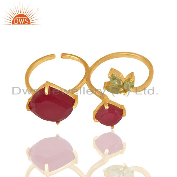 Exporter Designer Multi Gemstone 925 Silver Gold Plated Double Finger Rings