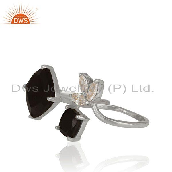 Exporter Zircon and Black Onyx Gemstone Fine Sterling Silver Double Finger Ring Wholesale