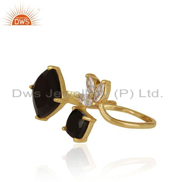 Exporter Black Onyx and Zircon Gemstone 925 Silver Double Finger Ring Manufacturers