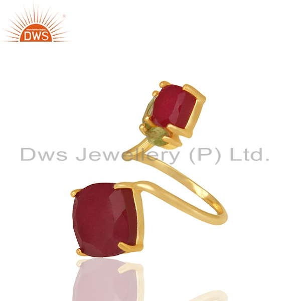 Exporter Customized Multi Gemstone 925 Silver Gold Plated Rings Jewelry