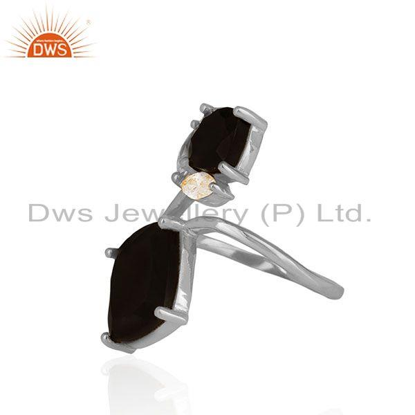 Exporter Black Onyx Gemstone Handmade 925 Sterling Silver Double Finger Rings Suppliers
