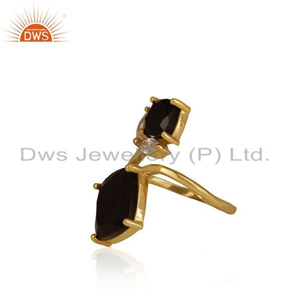 Exporter 14k Gold Plated 925 Silver Black Onyx and Zircon Gemstone Double Finger Rings