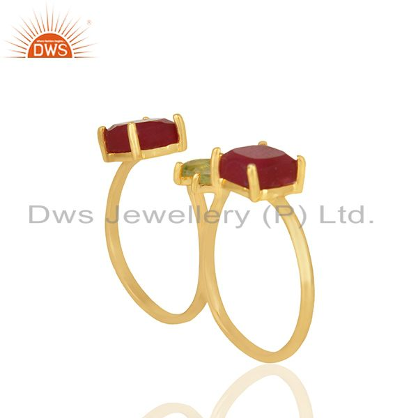 Exporter Peridot and Ruby Gemstone 925 Silver Gold Plated Multi Finger Rings