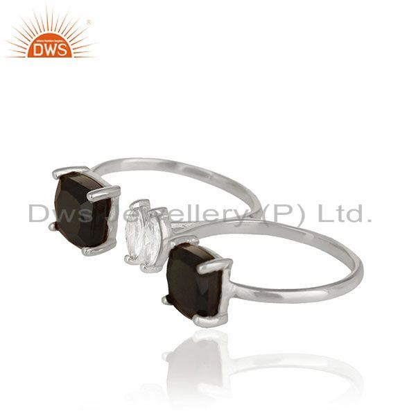 Exporter Black Onyx Gemstone Double Finger Fine Sterling Silver Handmade Rings Wholesale