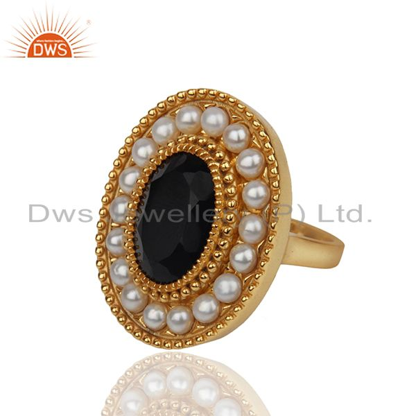 Exporter Indian Traditional Gold Plated 925 Silver Customized Ring Manufacturer