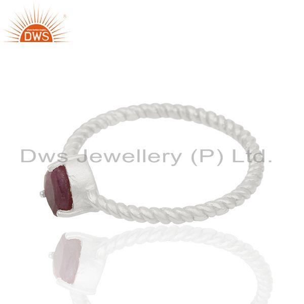 Exporter July Birthstone Ruby 925 Fine Silver Screw Design Ring Manufacturer