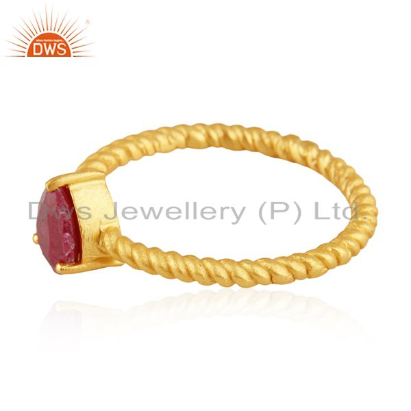Exporter Natural Ruby Birthstone Screw Design 925 Silver Gold Plated Rings