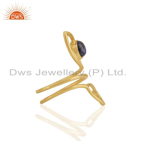 Exporter Double Evil Eye Lapis Lazuli Gemstone Gold Plated Silver Ring Supplier
