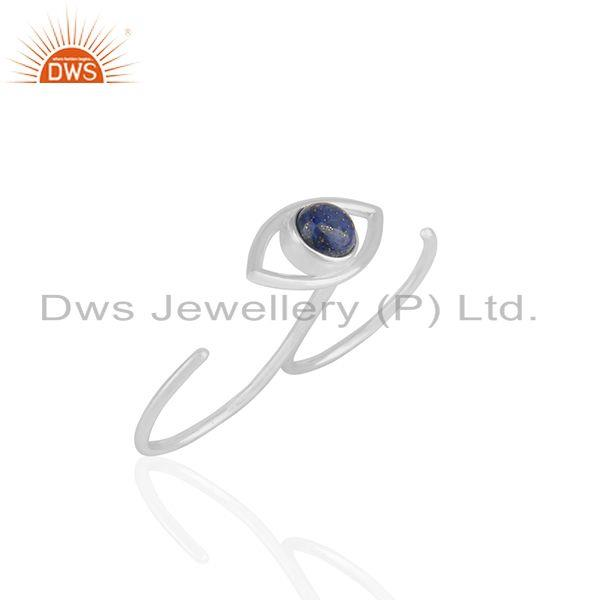 Exporter Handmade Sterling Silver Evil Eye Design Multi Finger Gemstone Ring
