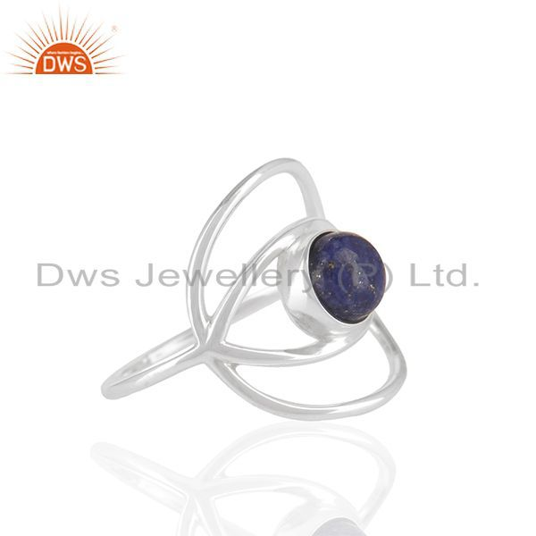 Exporter New Stylish Eye Design 925 Silver Lapis Blue Gemstone Ring Wholesale