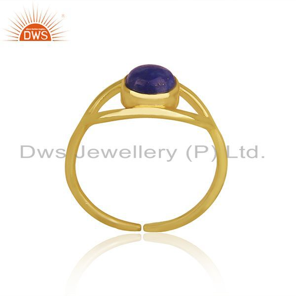 Exporter Handmade Evil Eye Design Gold Plated 925 Silver Lapis Gemstone Ring Wholesale