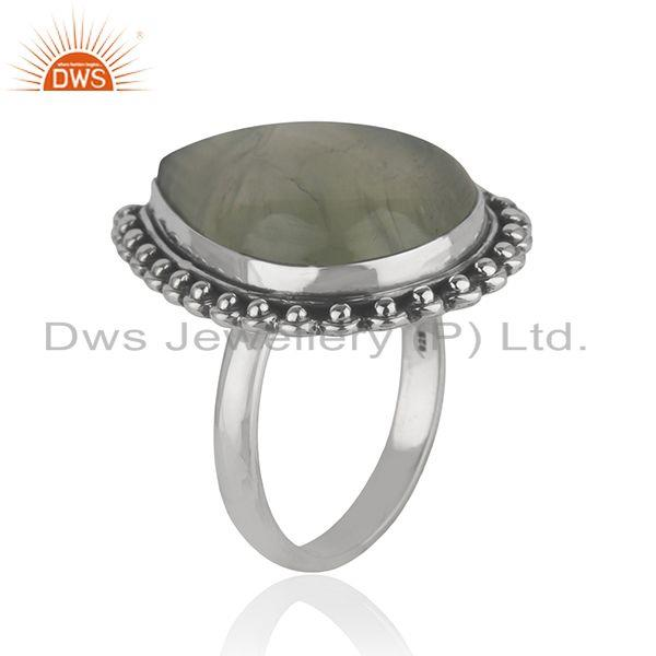 Exporter Wholesale Oxidized Sterling Silver Prehnite Gemstone Ring Jewelry