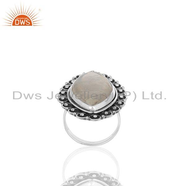 Exporter Rainbow Moonstone Oxidized 925 Silver Custom Ring Manufacturer from India
