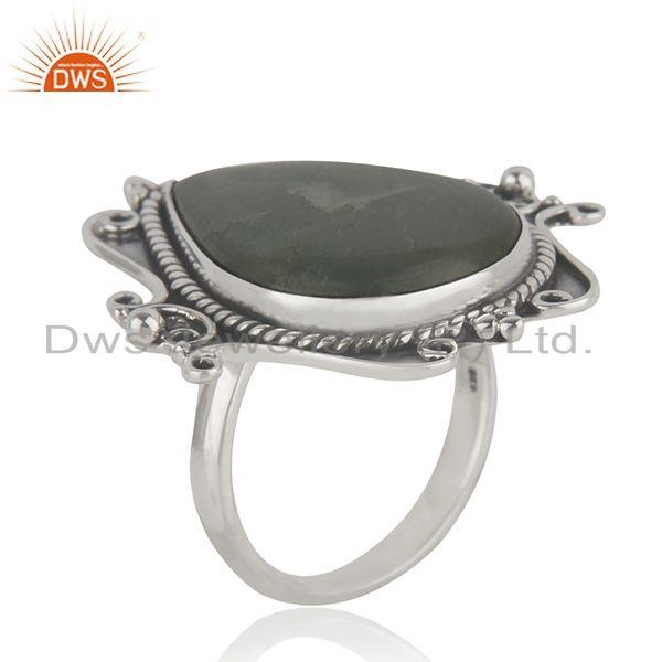 Exporter Manufacturer Sterling Silver Oxidized Aquamarine Gemstone Ring Jewelry